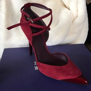 Clamoroso scarlet suede Stuart Weitzman heel